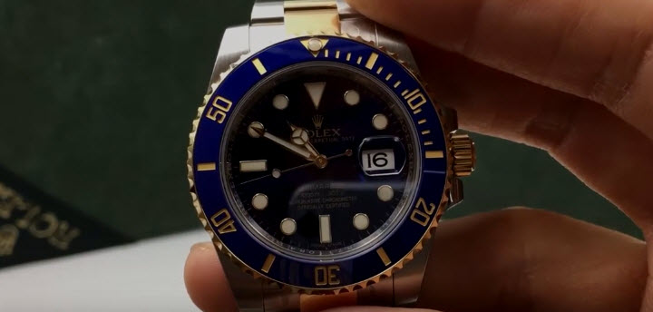 Roled Two Tone Submariner Blue Dial Bezel Comparison