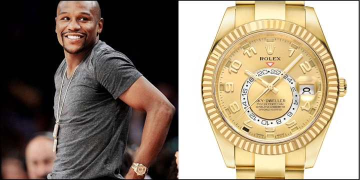 mayweather and clash date conor from completely century s floyd sapphires mcgregor rolex luxury day inlaid rubies president owned the gmt diamonds of vs flaunts master with may datejust by wrist at guide fight watch are watches