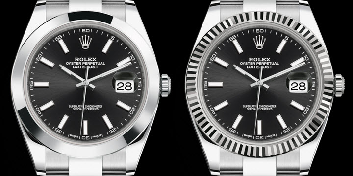 1784b793448 Rolex Datejust 41 black dial smooth steel vs fluted white-gold bezel