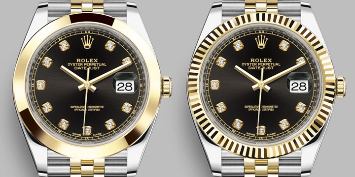 50114ff58de Rolex Datejust 41 black dial yellow-gold two tone smooth vs fluted bezel