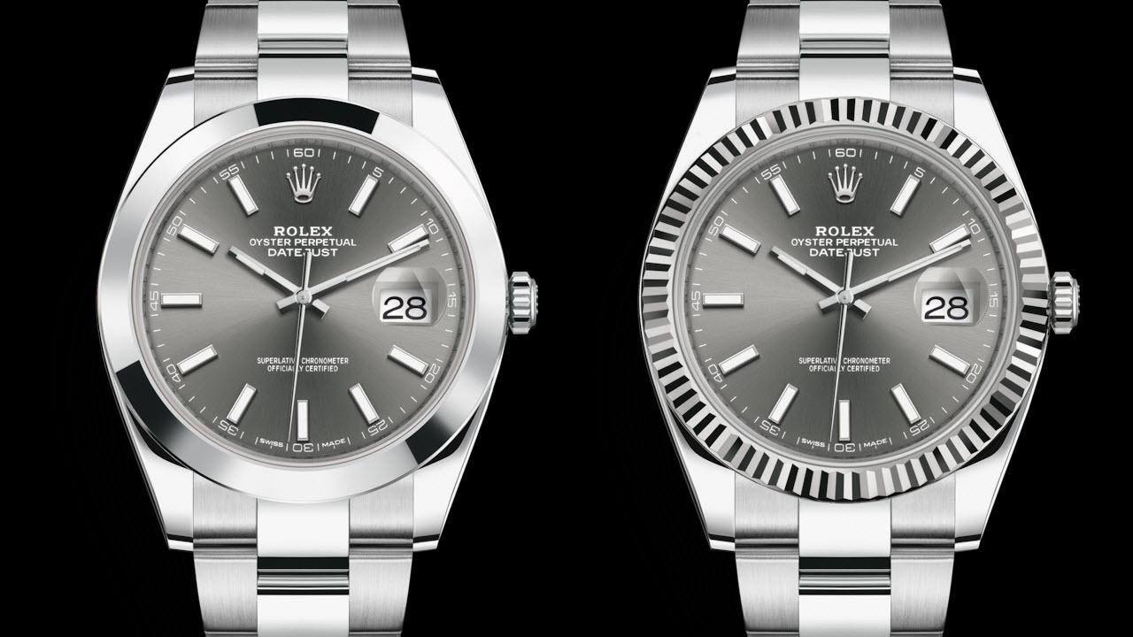 Rolex Datejust 41 dark rhodium - smooth steel bezel vs fluted white gold bezel