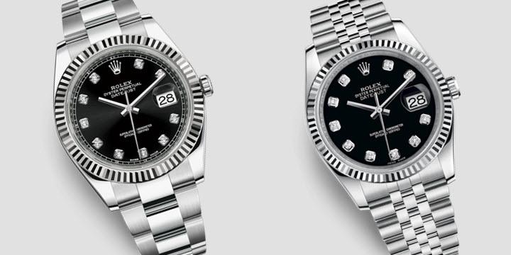 Rolex Datejust 41mm black diamond dial white gold fluted bezel oyster vs jubilee bracelet