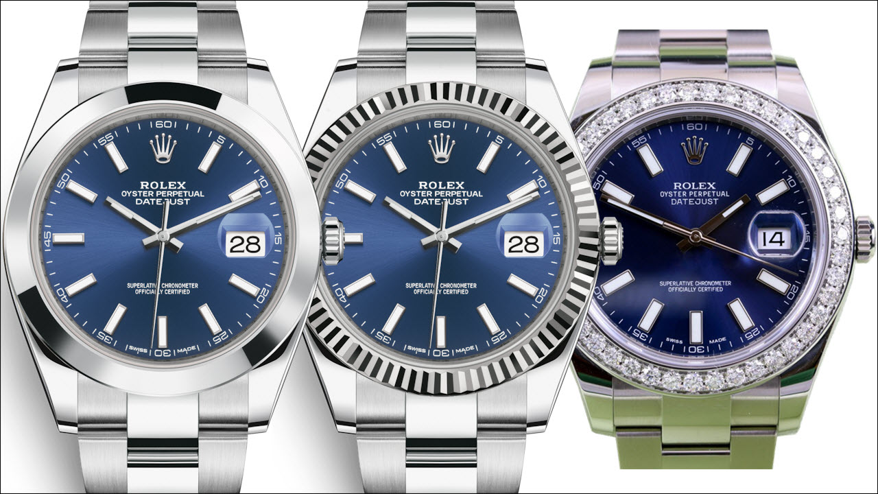 Rolex Datejust 41mm blue dial - smooth vs white gold fluted vs diamond bezel