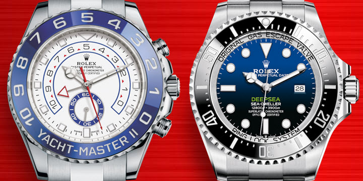 Biggest Mens Rolex Watches for big thick wrists Yacht-Master II and Deepsea