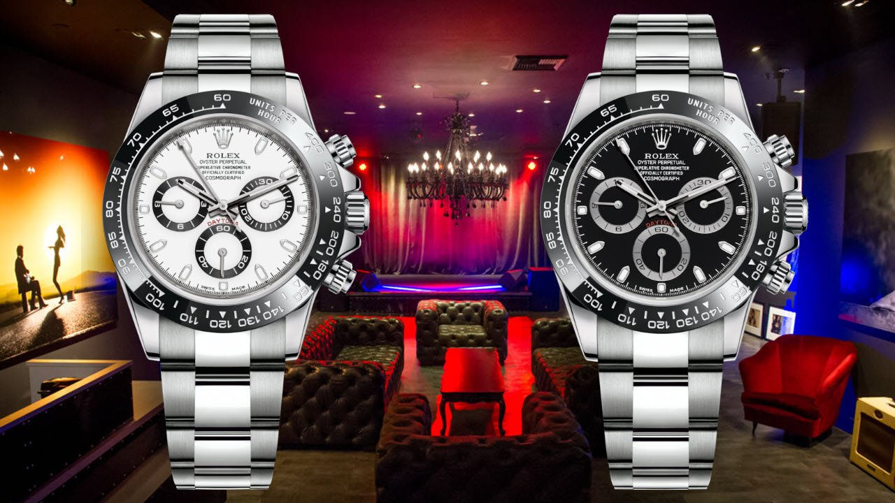 Stainless Steel Rolex Daytona Watches with white and black dial with black ceramic bezel