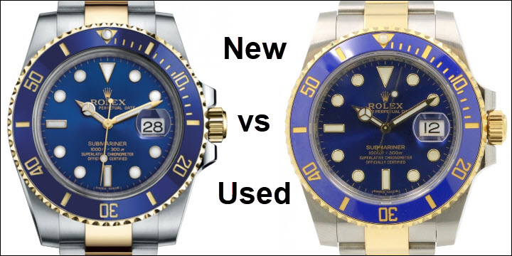 New vs Used Rolex Submariner Gold and Steel Two Tone blue