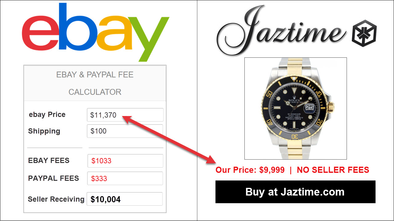 Rolex Luxury Watch ebay fees example, compared to direct buying from rolex online dealer