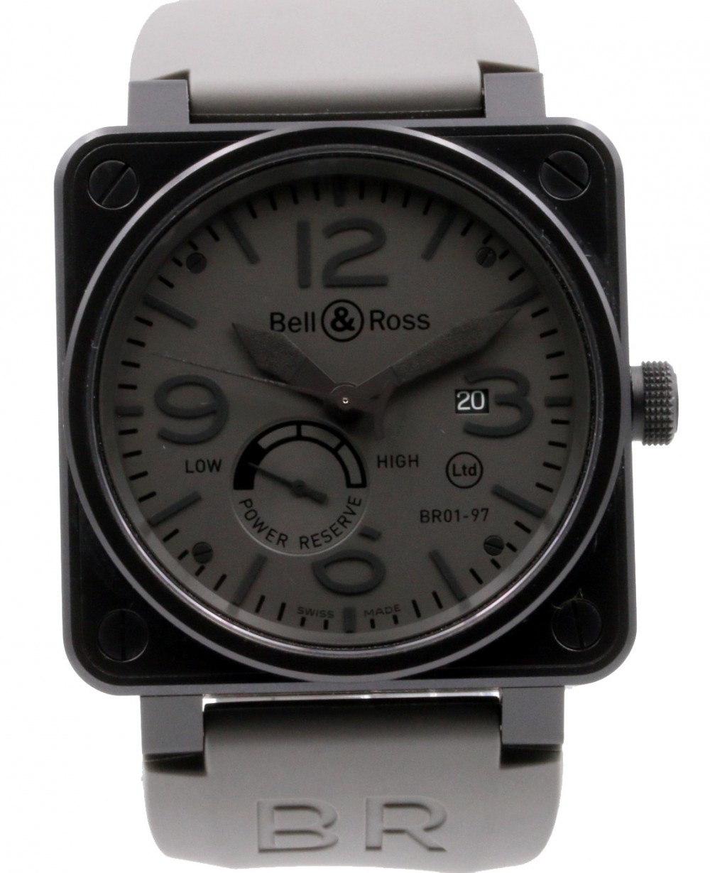 finest selection 54fa0 60c48 Bell & Ross BR 01-97 Power Reserve Commando Stainless Steel PVD Grey Black  Rubber