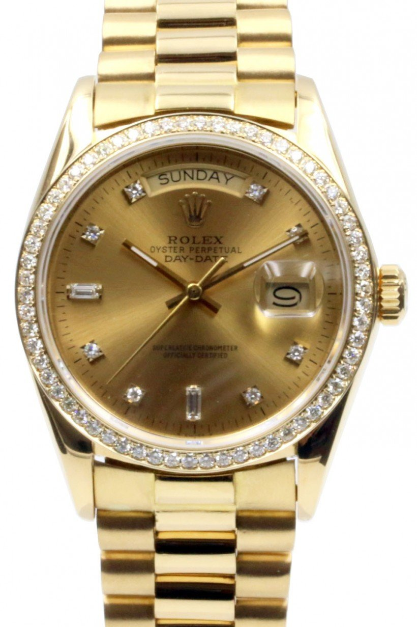 Rolex Day Date President 18038 Champagne Diamond Bezel 36mm 18k Yellow Gold