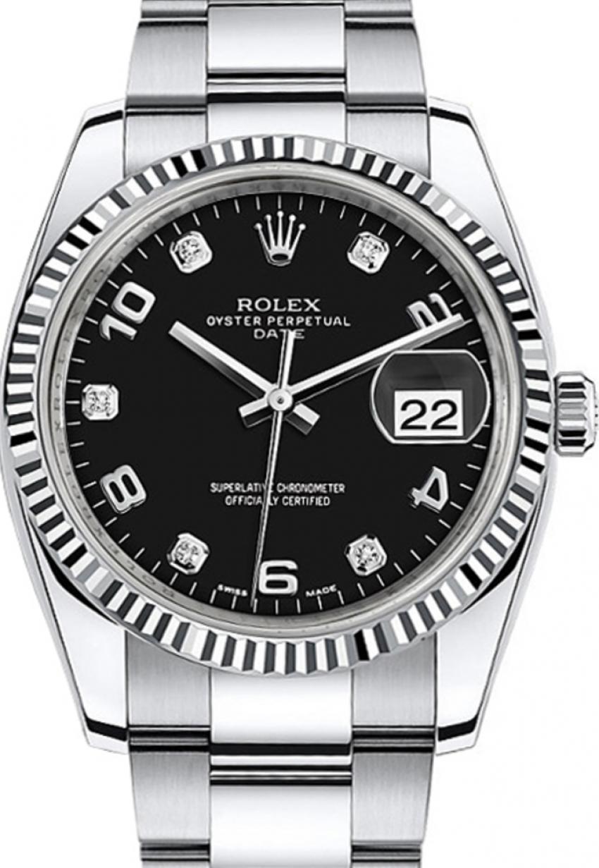 Rolex Oyster Perpetual Date 34 115234 Blkdfo Black Arabic Diamond