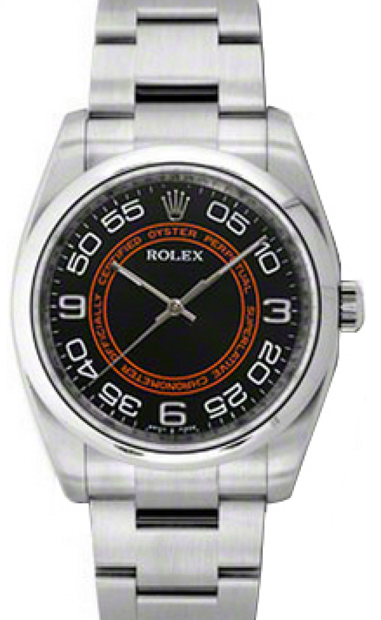 Rolex Oyster Perpetual 36 Stainless Black Orange Concentric Circle Arabic Dial Smooth Bezel Oyster Bracelet 116000 Brand New