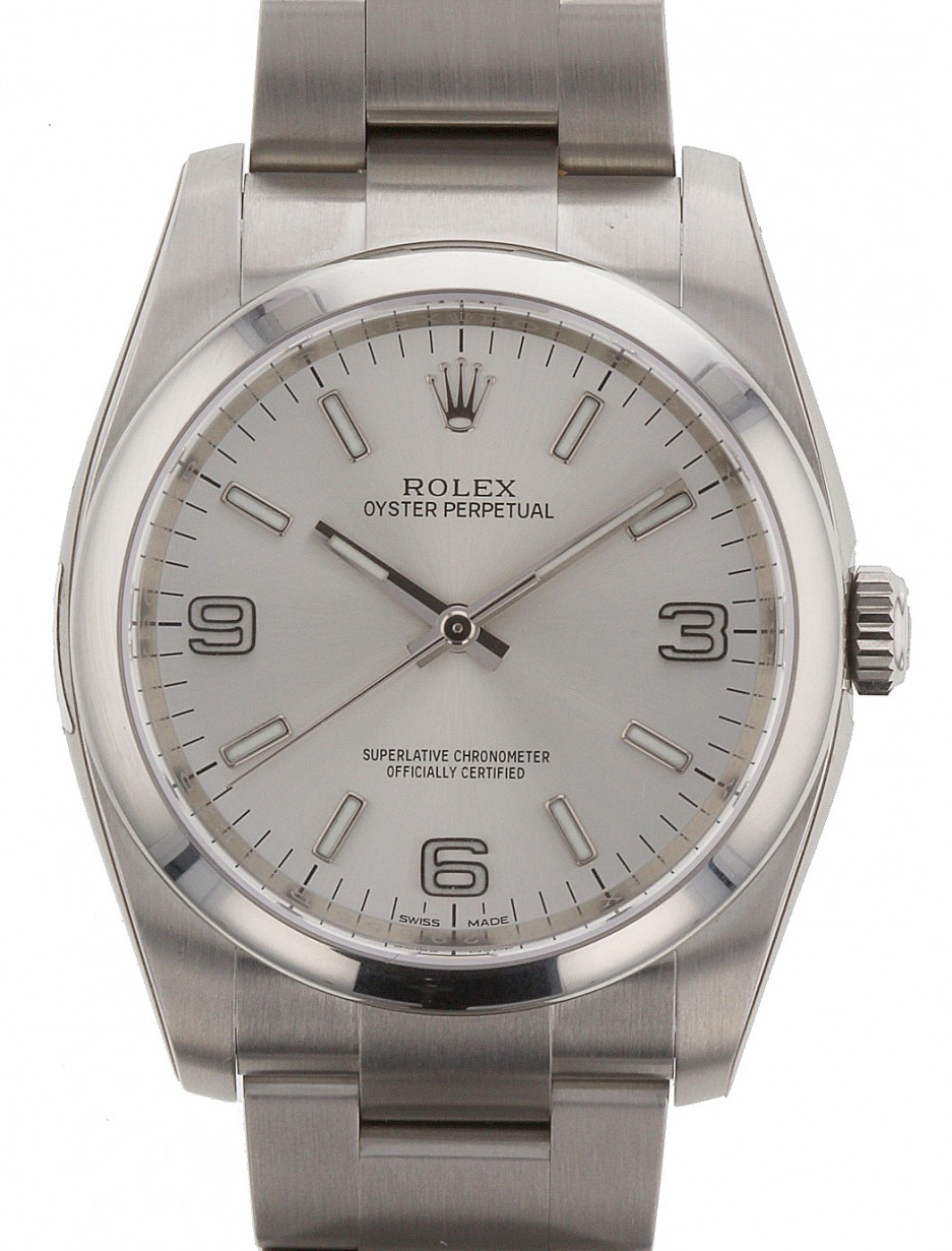 Rolex Oyster Perpetual 36 Stainless Steel Silver Arabic Index Dial Smooth Bezel Oyster Bracelet 116000 Brand New