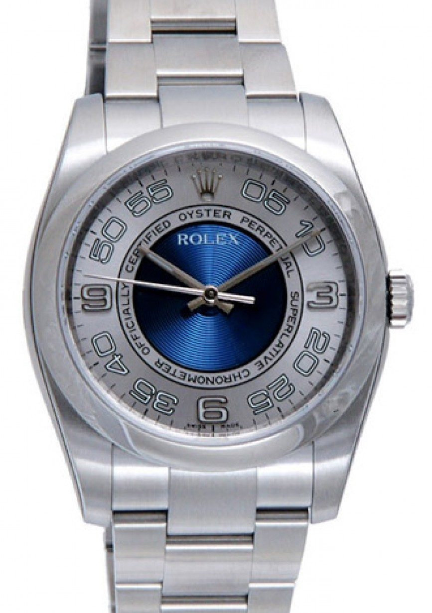 Rolex Oyster Perpetual 36 Stainless Steel Silver Blue Concentric Circle Arabic Dial Smooth Bezel Oyster Bracelet 116000 Brand New