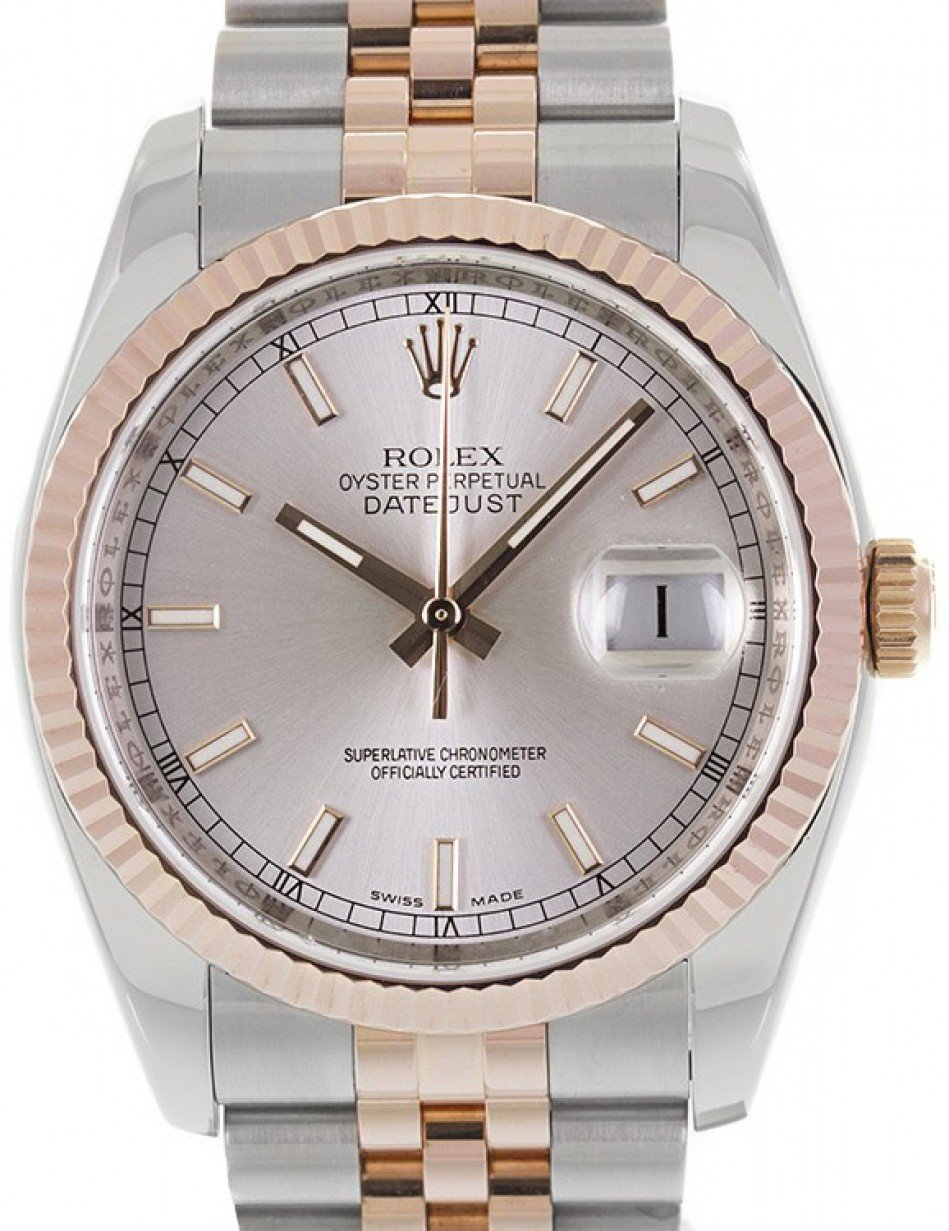 Rolex Datejust 36 Rose Gold/Steel Silver Index Dial & Fluted Bezel Jubilee  Bracelet 116231 - BRAND NEW