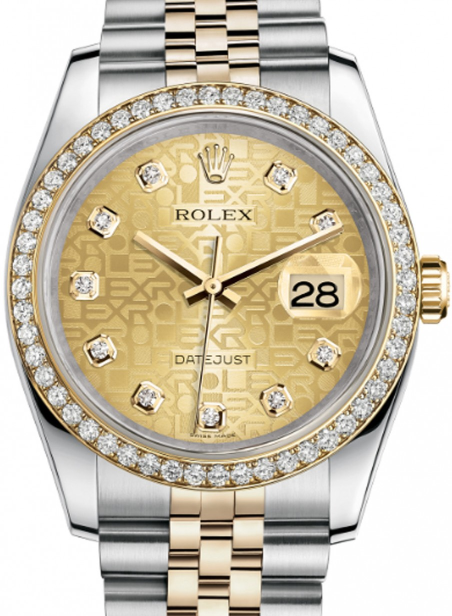 Rolex Datejust 36 116243,GLJDDJ Champagne Jubilee Dial Diamond Bezel Yellow  Gold Stainless Steel Jubilee , BRAND NEW