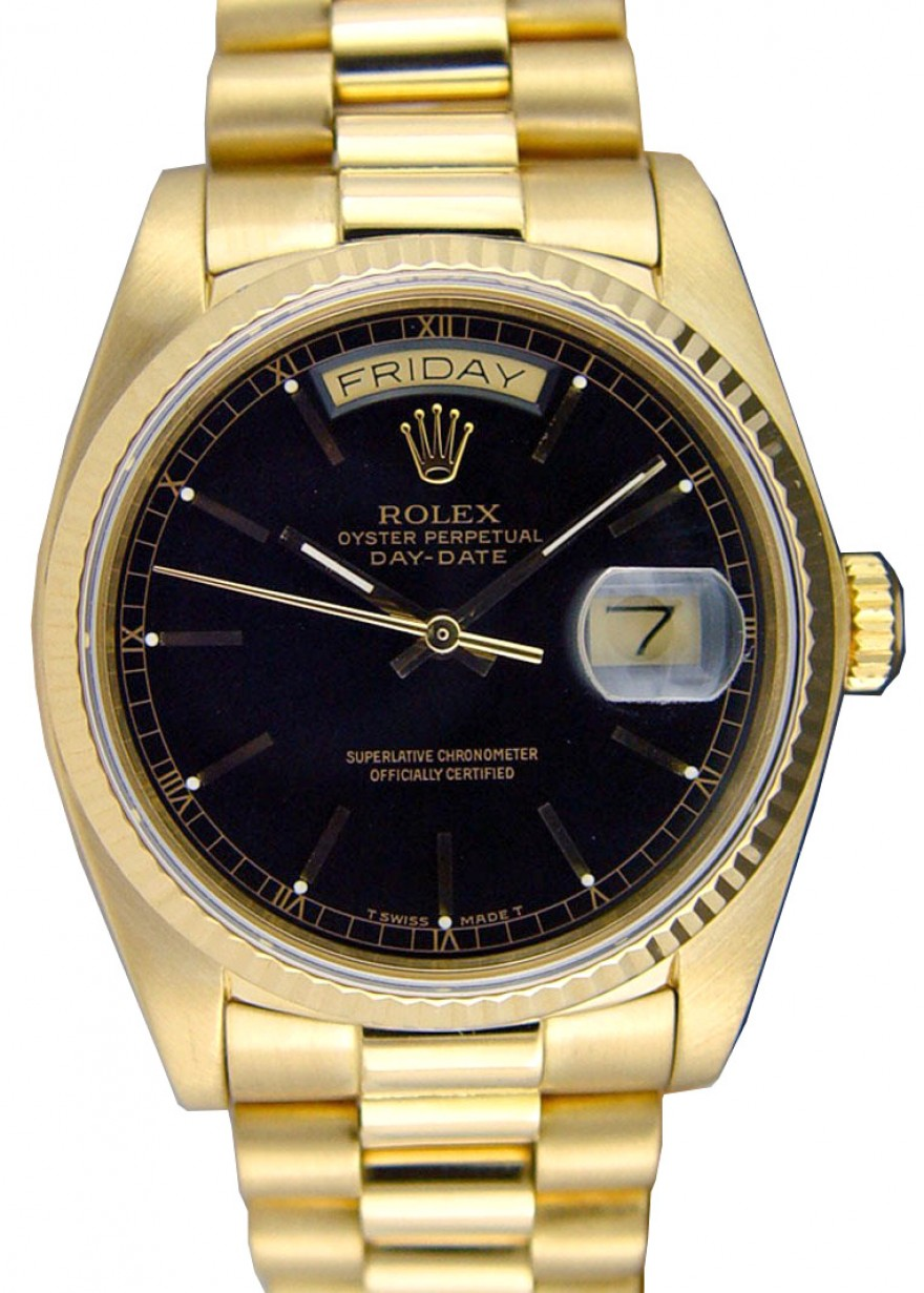 Rolex Day Date President 18038 Mens 36mm Black Index Fluted 18k Yellow Gold President