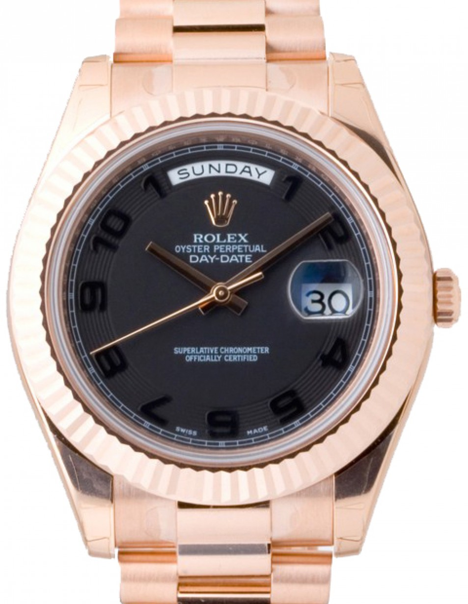 Rolex Day Date Ii 218235 Blcafp 41mm Black Arabic Concentric Circle Fluted Rose Gold President Brand New