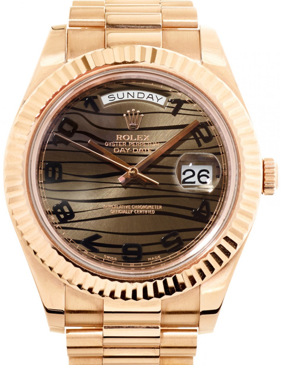 Rolex Day Date Ii 218235 Brzafp 41mm Bronze Arabic Wave Dial Fluted Rose Gold President Brand New