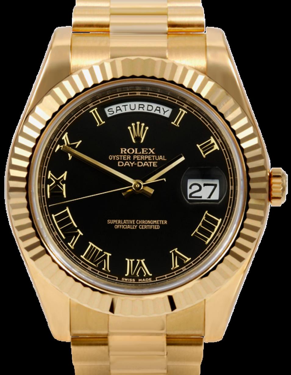 Rolex Day-Date II 218238-BLKRFP 41mm Black Roman Fluted Yellow Gold  President - BRAND NEW