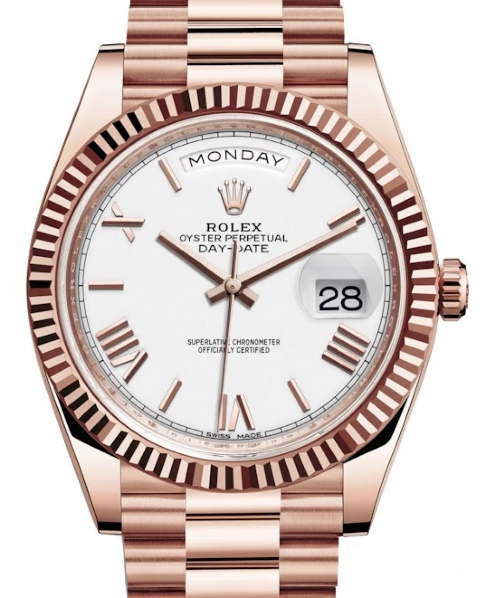 Rolex Day Date 40 Rose Gold White Roman Dial Fluted Bezel President Bracelet 228235 Brand New