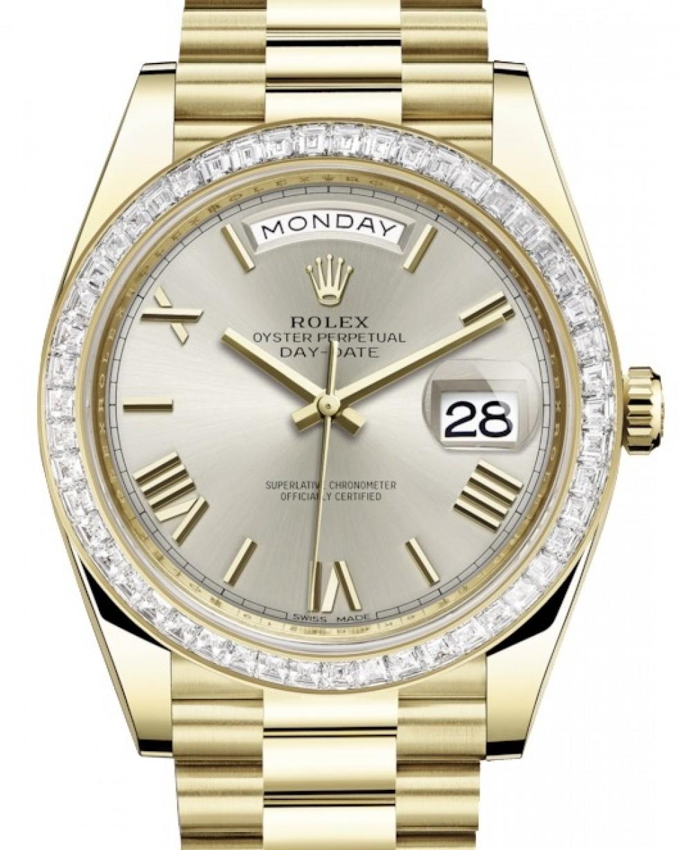 Rolex Day Date 40 Yellow Gold Silver Roman Dial Diamond Bezel President Bracelet 228398tbr Brand New