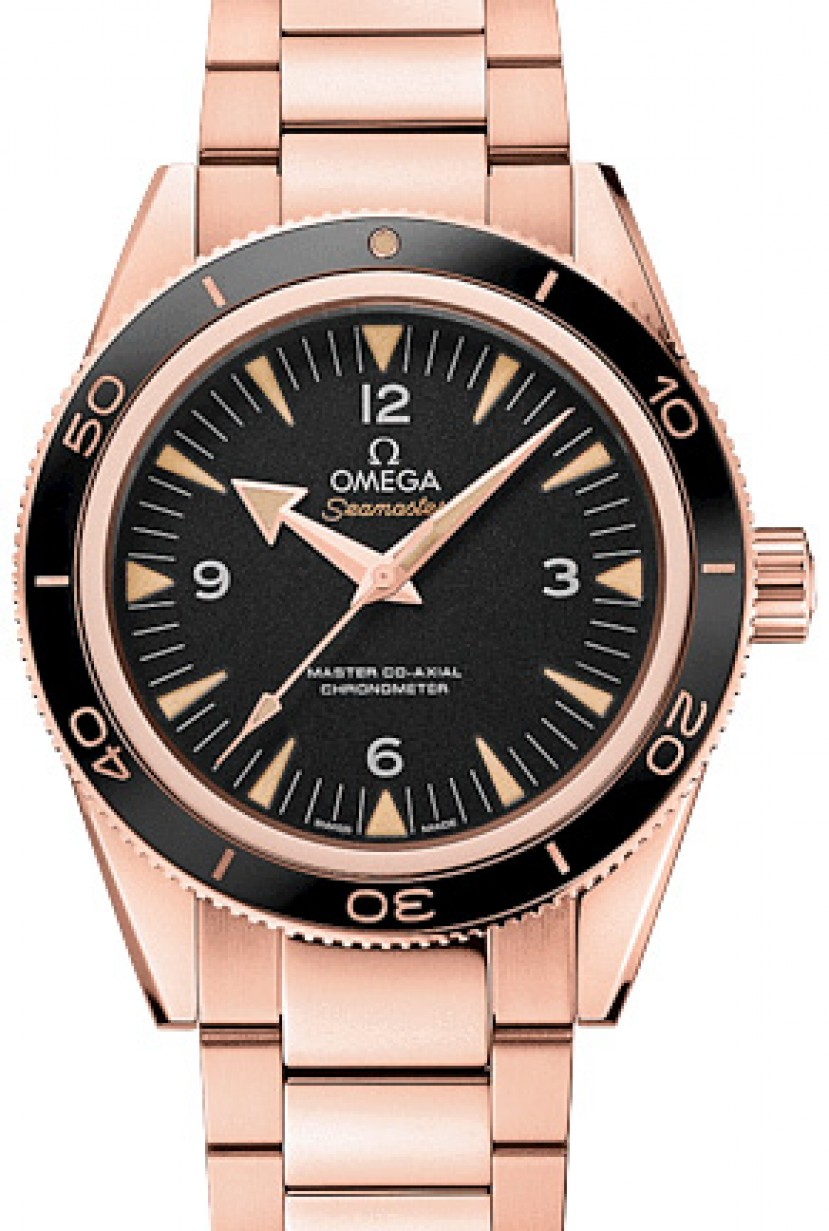 Omega 233 60 41 21 01 001 Seamaster 300 Master Co Axial 41mm Black Arabic Index Rose Gold Brand New