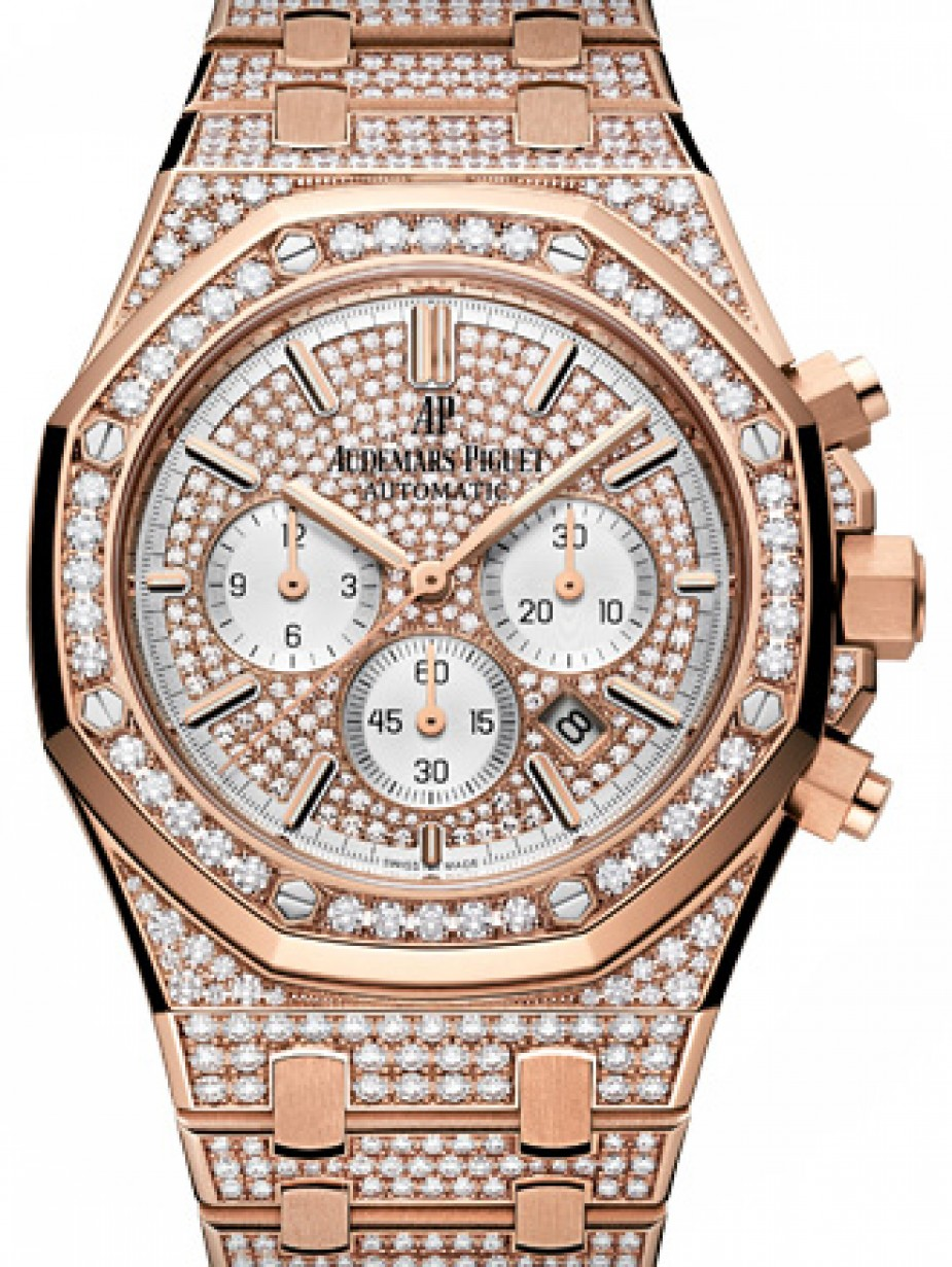 Audemars Piguet 26322or Zz 1222or 01 Royal Oak Chronograph 41mm Diamond Pave Index Rose Gold Diamond Set Brand New