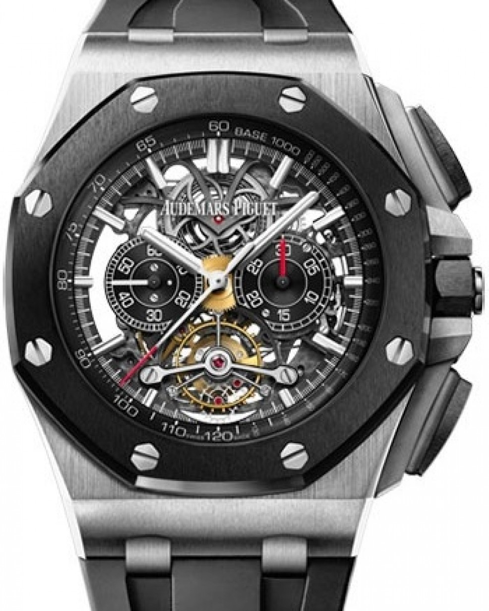 8eb89913f01 Audemars Piguet Royal Oak Offshore Tourbillon Chronograph Openworked  26348IO.OO.A002CA.01 Skeleton Index Ceramic Titanium Rubber 44mm Hand-Wound  - BRAND NEW