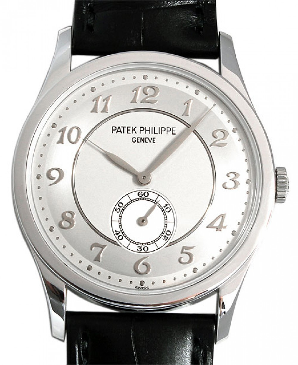 Patek Philippe 5196p 001 Calatrava 37mm Silver Arabic Platinum Leather Brand New