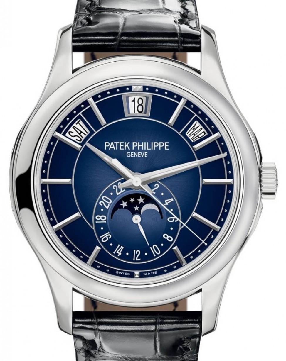 Patek Philippe Complications 5205g 013 Blue Sunburst Index White Gold Leather 40mm Brand New