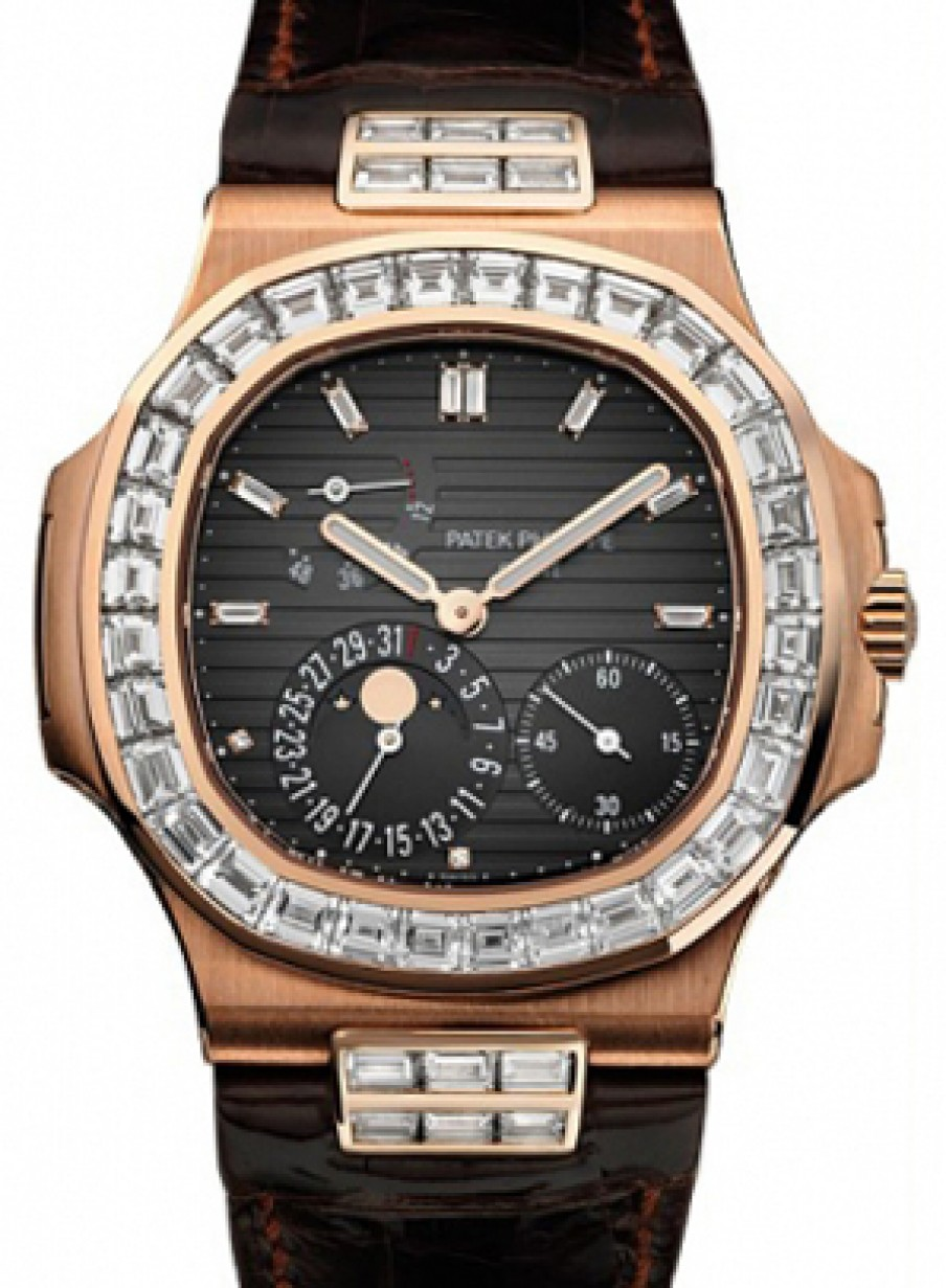 bf5f416a2cd Patek Philippe 5724R-001 Nautilus 40mm Black Baguette Diamond Bezel Moon  Phase Date Rose Gold Leather Automatic BRAND NEW