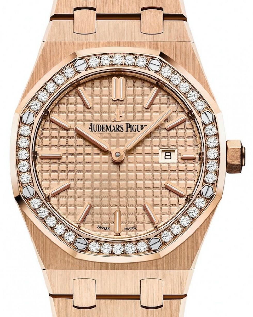 Audemars Piguet Royal Oak Quartz 67651or Zz 1261or 03 Pink Index Diamond Bezel Rose Gold 33mm Brand New
