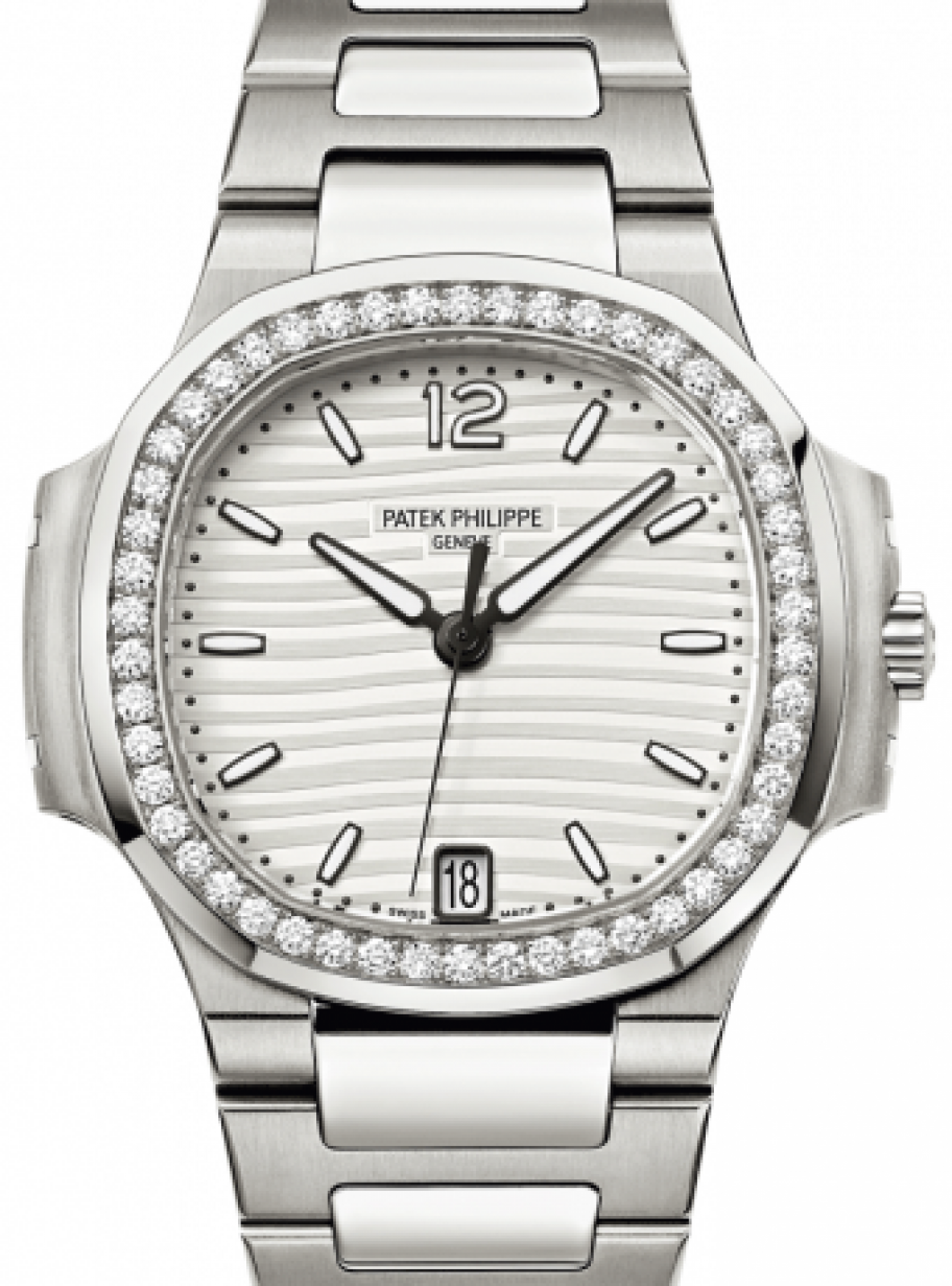 Patek Philippe 7018/1A-001 Nautilus Ladies 33 6mm Silver Index Diamond  Bezel Stainless Steel Diamond Set Date BRAND NEW