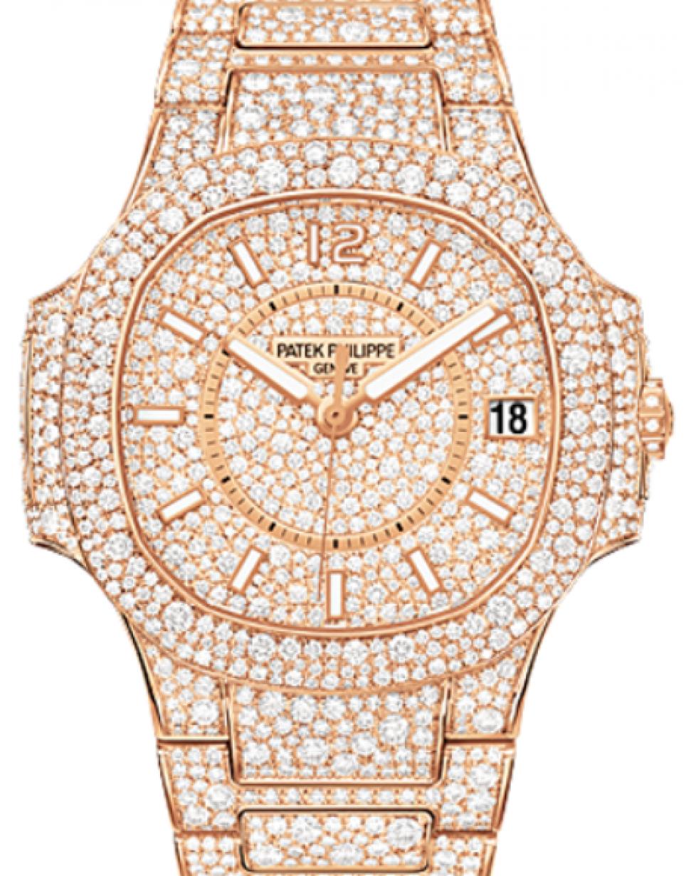 6f7edf0a157 Patek Philippe Ladies Nautilus 7021/1R 33.6mm Diamond Index Rose Gold  Diamond Set BRAND NEW