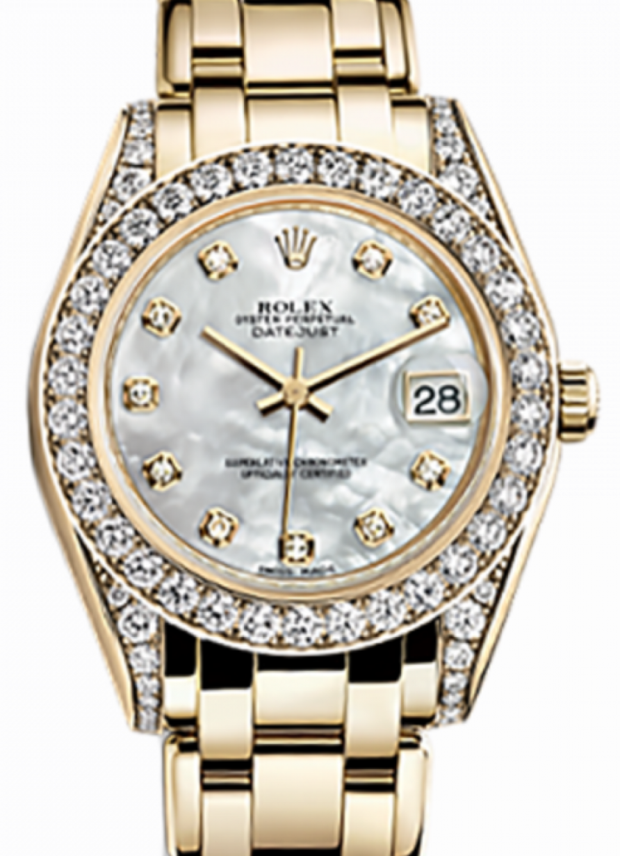 Rolex Pearlmaster 34 81158 White Mother of Pearl Roman Diamond Set Yellow  Gold BRAND NEW