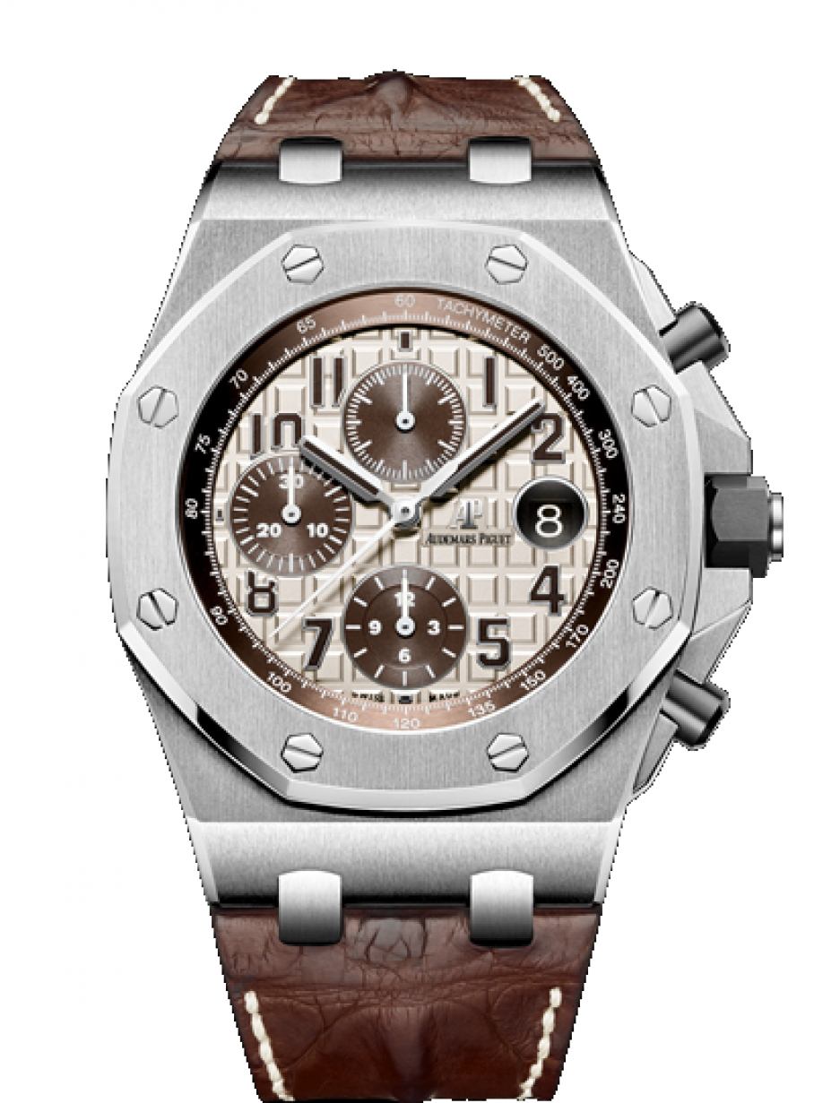 Audemars Piguet 26470st Oo A801cr 01 Royal Oak Offshore Chronograph 42mm Ivory Safari Brown Steel Leather Brand New