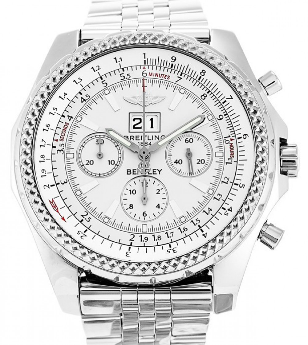 Breitling Bentley 6 75 Chronograph A44362 White Stainless Steel 48mm Mens