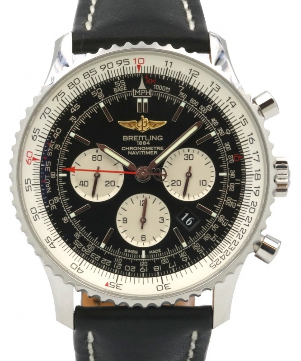 Breitling Navitimer 01 Ab012721 Chronograph Stainless Steel Leather 46mm Pre Owned