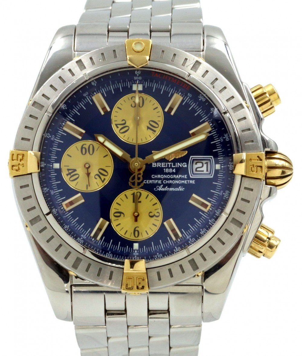 Breitling Chronomat Evolution B13356 Blue Two Tone Yellow Gold Stainless Steel Pre Owned