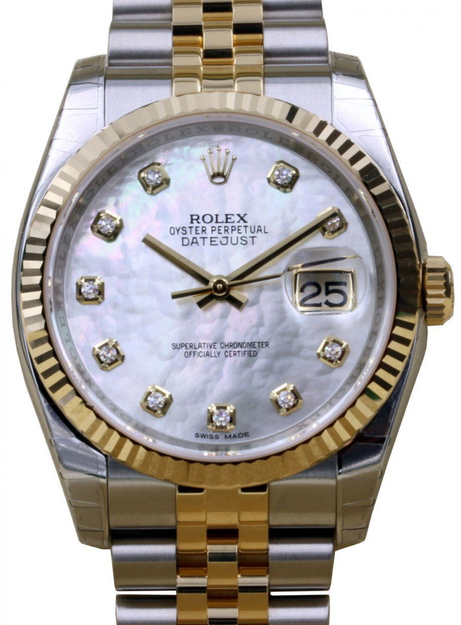 a39f4f32922 More Views. Rolex Datejust 36 116233-MOPDFJ White Mother of Pearl Diamond  Fluted Yellow Gold Stainless Steel