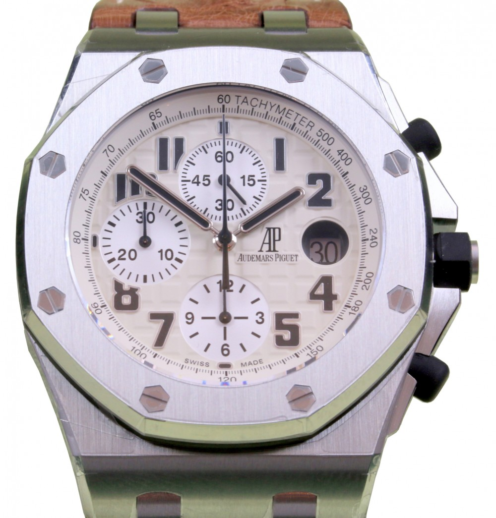Audemars Piguet 26170st Oo D091cr 01 Royal Oak Offshore Chronograph Safari Model 42mm White Arabic Stainless Steel Automatic Brand New