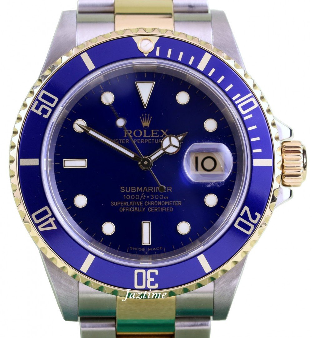 Rolex Submariner 16613 Blue 18k Yellow Gold Stainless Steel No Holes Pre Owned