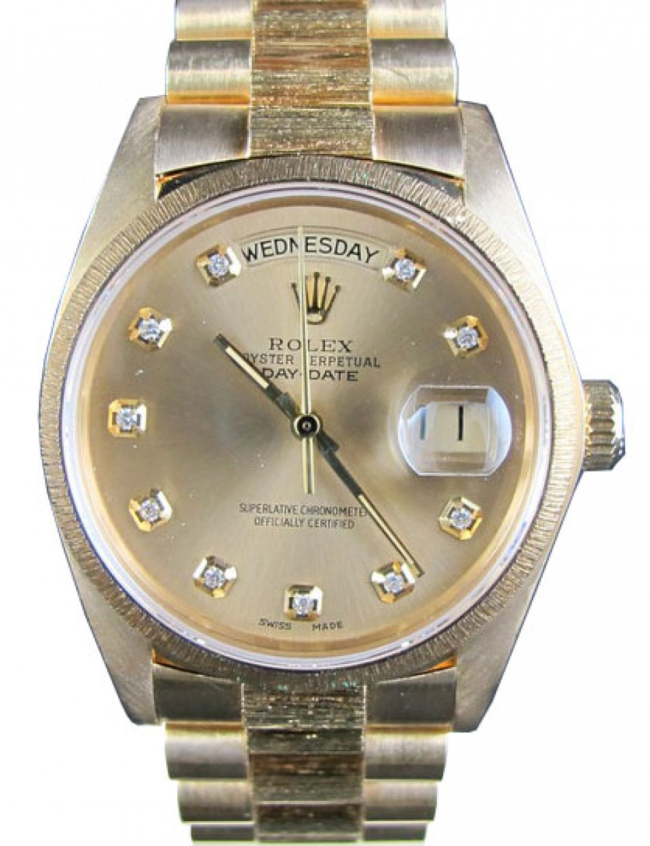 6a39c772042 More Views. Rolex Day-Date President 18078 18k Yellow Gold Bark 36mm Diamond  Dial