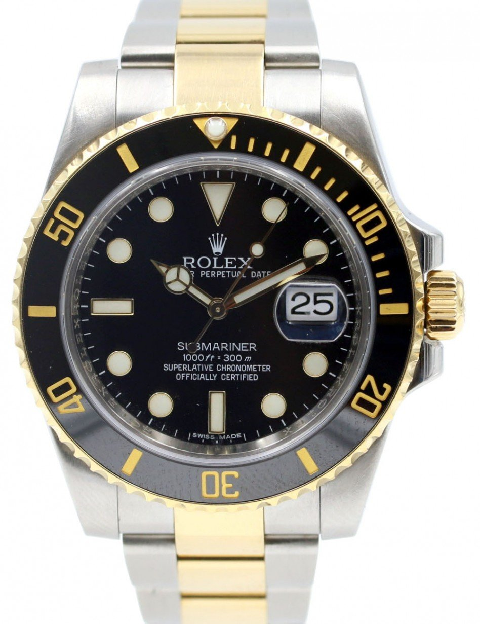 Rolex Submariner 116613 Ceramic Black 40mm 18k Yellow Gold Stainless Steel  116613LN , PRE,OWNED
