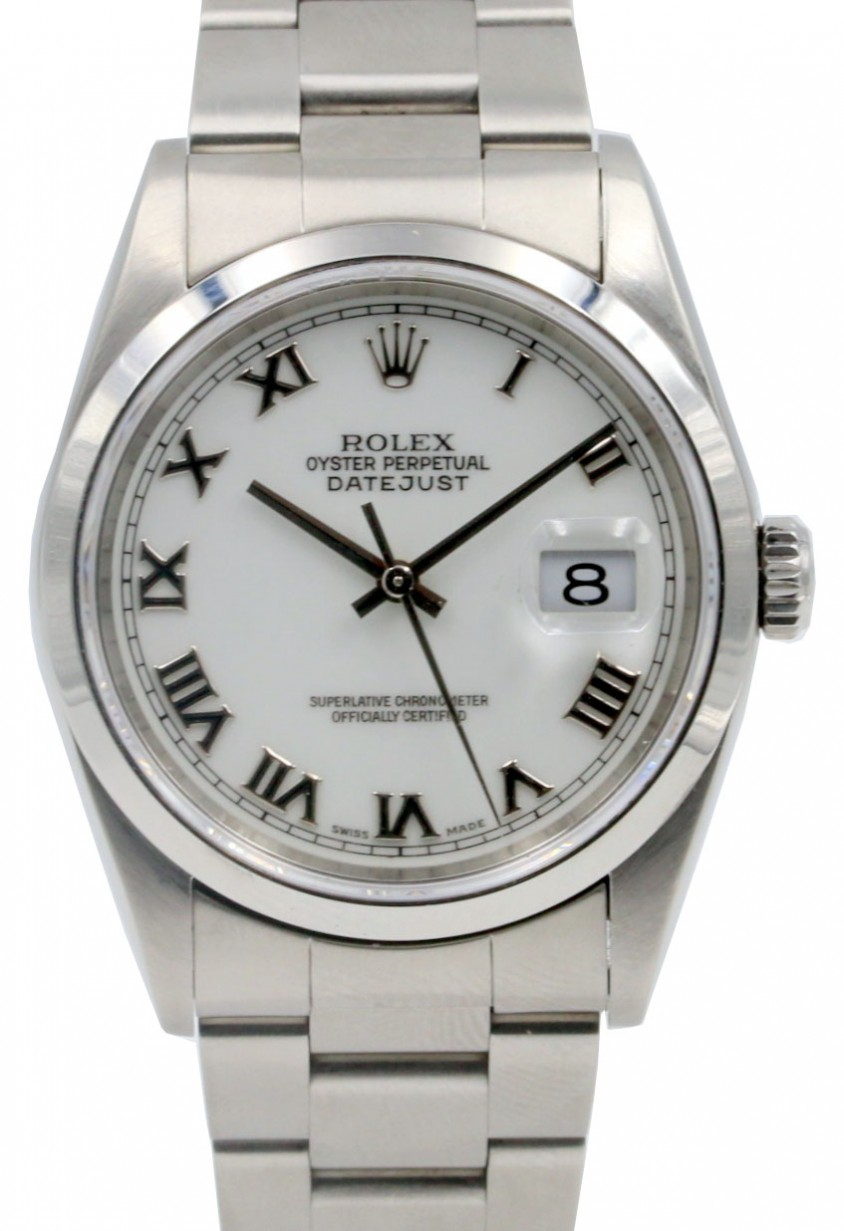 e0edeb30f62 Rolex Datejust 16200 Men's 36mm White Roman Stainless Steel Oyster