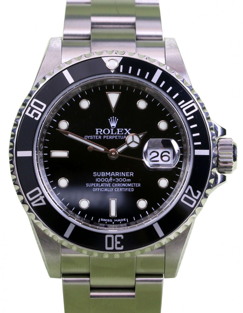 9bd8f4cf51d2 Rolex Submariner 16610 Black 40mm Stainless Steel Inscribed Rehaut ...
