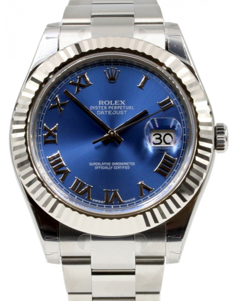 8b69904eb66 Rolex Datejust II 116334 BLURFO Blue Roman White Gold Stainless Steel Oyster  Men's 41mm - BRAND NEW
