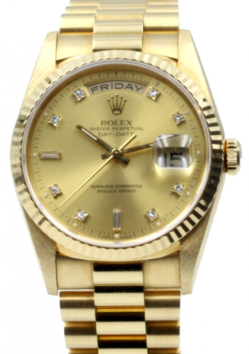 feafd037939 More Views. Rolex Day-Date President 18238 Champagne 36mm Factory Diamonds  36mm 18k Yellow Gold