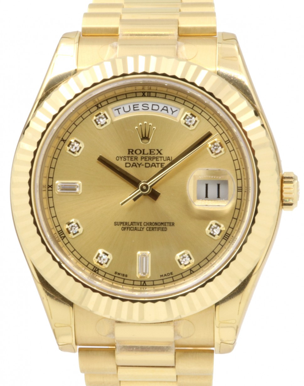 Rolex Day Date Ii 218238 Glddfp 41mm Champagne Baquette Diamonds Fluted Yellow Gold President Brand New