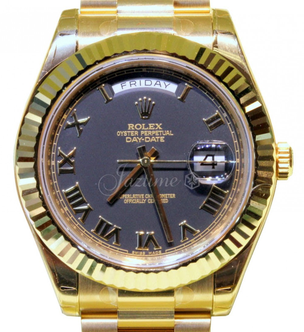 Rolex Day Date Ii President 218238 Black 18k 41mm Yellow Gold Brand New